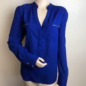 Tops - Blue Long Sleeve V Neck Blouse Gold Detail